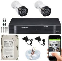 Kit Cftv Intelbras Comp Instalado 2 câmeras de segurança MultHD - Acesso remoto grátis!!