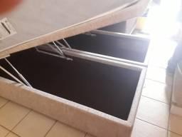 0b7777e2ab Cama de casal com baú box e colchão de mola 1
