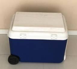 Caixa térmica com alça e rodinha azul mor