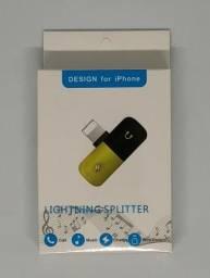Adaptador Lightning Splitter Carregador Fone Iphone 7 8 X Novo na Caixa