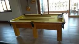 Mesa Madeira Bilhar   Mesa Cerejeira   Tecido Amarelo   Modelo: PTML8727