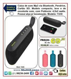 Caixa De Som Bluetooth Usb Cartão De Memória + Aux P2 Y230