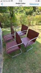 Título do anúncio: Cadeiras em couro e aço inox ( 4 Unid. )