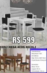 Conjunto Mesa 4 Cadeiras Nicoli