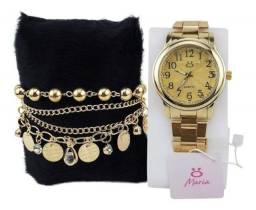 Relógio Analógico Feminino em Aço + Pulseira de Brinde Rma119 Dourado