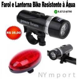Lanterna Farol Dianteiro + Pisca Iluminação Traseiro Bike Bicicleta Resistente á Água