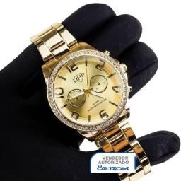 Relógio Analógico Dhp Feminino em Aço com Strass a Prova D'água Rdh4 Dourado