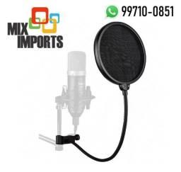 Pop Filter Antipuff p/ Microfone Condensador Estúdio (Novo, aceito cartão)