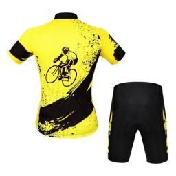 Conjunto ciclismo amarelo M