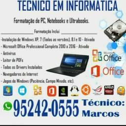 Técnico em informática Notebook e CPU desktop
