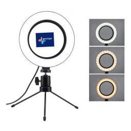 Título do anúncio: Ring Light Led Mesa Iluminador Pequena Tripé 6 Polegada 16cm