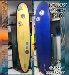 Longboard 9.1 epoxy seminova, *