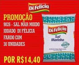 Atenção comerciantes Sal Marinho Iodado Di Felícia 30X1KG por R$ 14,40