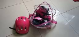 Kit Patins infantil in-line rosa, ajustável do n° 32 ao 35