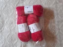 3 novelos de lã acrílica pinguim pink