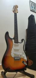 Guitarra memphis preta e amadeirada (marrom)