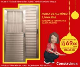 Porta de Alumínio 2,10x0,80m Veneziana