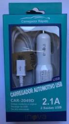 Carregador veicular rápido para celular inova car-2049D 2 saídas usb aceita todos os cabos