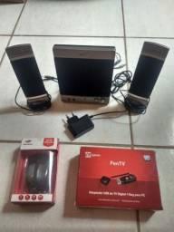 Caixinha de Som + PenTV Digital + Mouse sem fio
