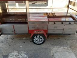 Título do anúncio: Carretinha de hot dog, lanche na chapa, churrasqueira trailer com fogão 4 bocas.