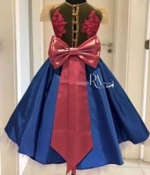 vestido de festa daminha aniversário luxo anna frozen disney