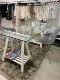 Mesa cavalete branca com vidro transparente 160x80