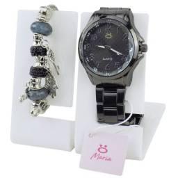 Relógio Analógico Feminino em Aço + Pulseira de Brinde Rma115 Preto