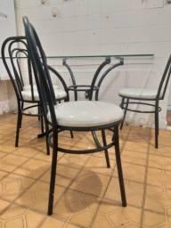 Mesa de Vidro + 4 Cadeiras - Qualidade Diferenciada