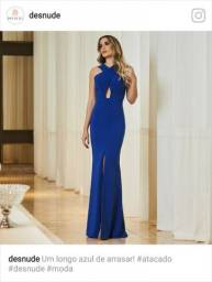 Vestido de festa, marca Desnude, NOVO, longo, azul