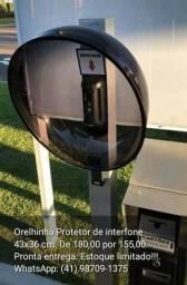 Orelhinha/protetor em acrílico fumê 43 x 36 cm para interfone e afins