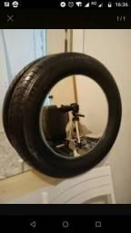 Espelho em pneu, espelho com moldura de pneu lindo