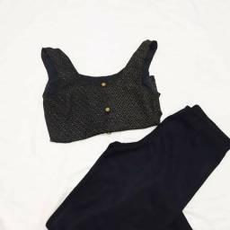 Camisa preta com renda P