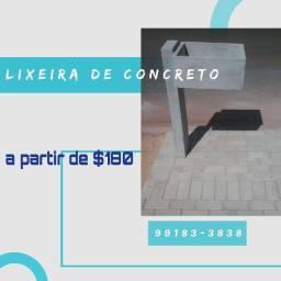 Lixeira de concreto Pilar lateral
