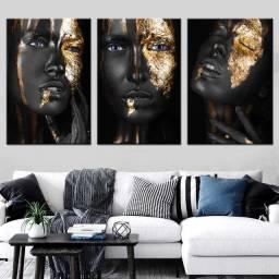 Kit 3 Quadros Decorativos Sala/Quarto - Mulheres Negras - Aceitamos cartoes/PIX