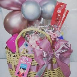 Título do anúncio: Cesta Bolsinha Rosa Dia da Criança