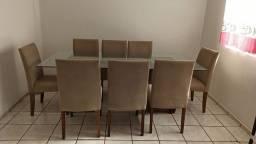 Título do anúncio: Mesa de vidro com 8 cadeiras estofadas