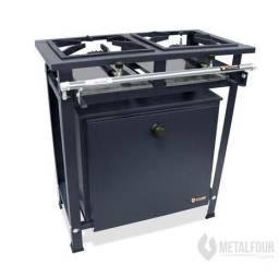 Título do anúncio: Fogão Industrial Alta Pressão 2 Bocas Queimadores Simples Com forno 57 Litros