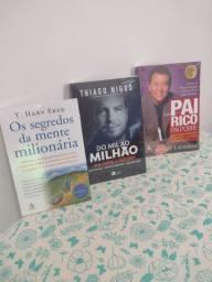 3 livros -(pai rico pai pobre, do mil ao milhão, os segredos da mente Milionária)