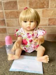 Bebê Reborn toda em Silicone loira olhos azuis Nova (aceito cartão )