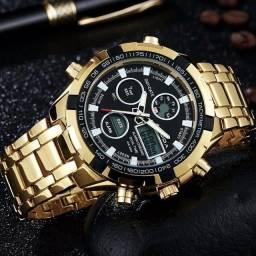 Título do anúncio: Relógio Boamigo em Aço inoxidável analógico e digital.