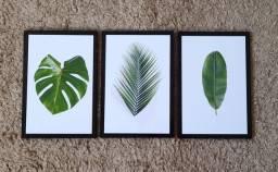 Kit Quadros Decorativos Folhas Tropicais