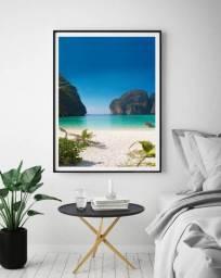 Quadro Praia com moldura