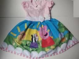 Vestido Luxo Sublimado Pepa - Peppa Pig - Veste 2/3 anos - Watshap (31)99620-3005