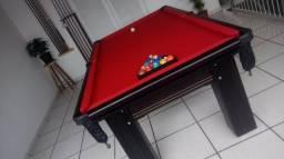 Mesa Madeira 2,20 x 1,20 | Mesa Preta | Tecido Vermelho | Modelo: EPEA7429