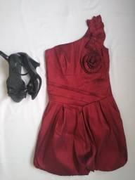Vestido vinho, P, festa