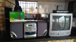Tv 14 Pol com conv digital/.telefone sem fio/micro system toca cd /am-fm- toca fita-