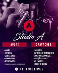 Aulas de instrumentos, Gravação e Produção musical