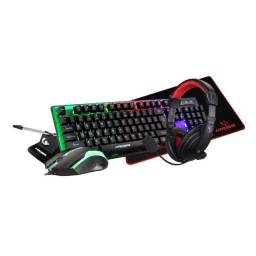 Título do anúncio: Kit Gamer Kross 5 em 1 Teclado Mouse Headset Mouse Pad e Bungee Novo lacrado garantia