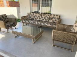 Conjunto sofá, mesa de centro e poltronas corda náutica