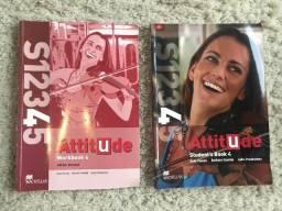 Conjunto Livros Inglês Attitude 4 Student's Book + Workbook Editora Macmillan Ótimo Estado
